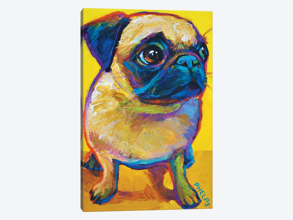 Yellow Pug by Robert Phelps 1-piece Art Print