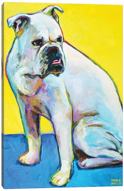 Bulldog On Yellow Canvas Art Print