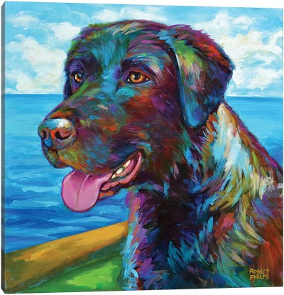 Chocolate Lab by the Sea Canvas Art Print