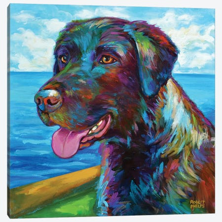 Chocolate Lab by the Sea Canvas Print #RPH91} by Robert Phelps Canvas Art Print
