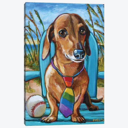 Dachshund with Tie Canvas Print #RPH92} by Robert Phelps Canvas Print
