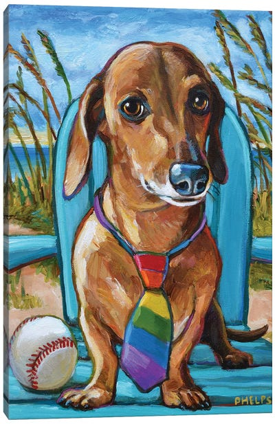 Dachshund with Tie Canvas Art Print