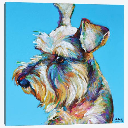 Dylan the Schnauzer Canvas Print #RPH95} by Robert Phelps Canvas Wall Art