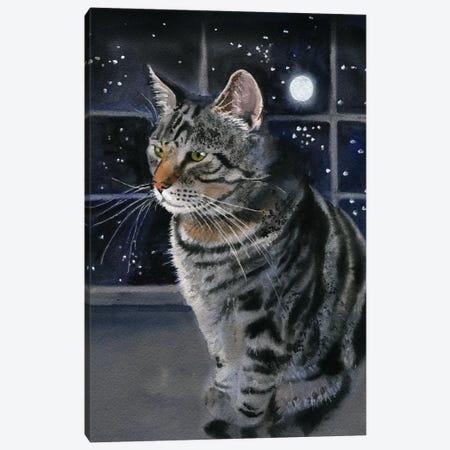 Moon Kitty Canvas Print #RPK10} by Rachel Parker Canvas Wall Art