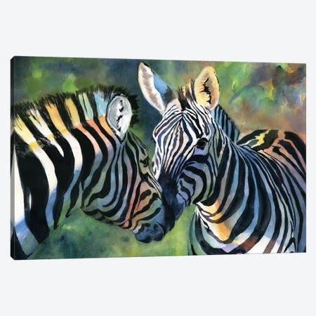 Zebra Love Canvas Print #RPK117} by Rachel Parker Canvas Print