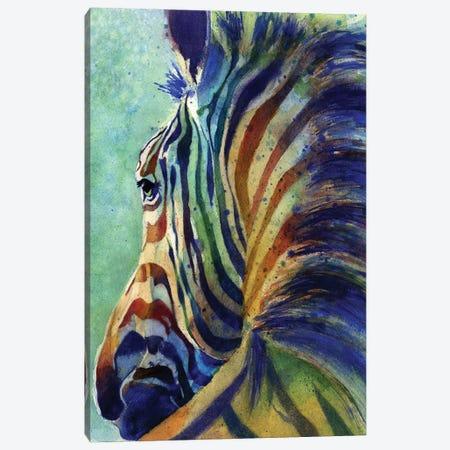 Zebra Rainbow Canvas Print #RPK118} by Rachel Parker Canvas Wall Art