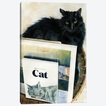 Black Cat Book Basket Canvas Print #RPK4} by Rachel Parker Art Print