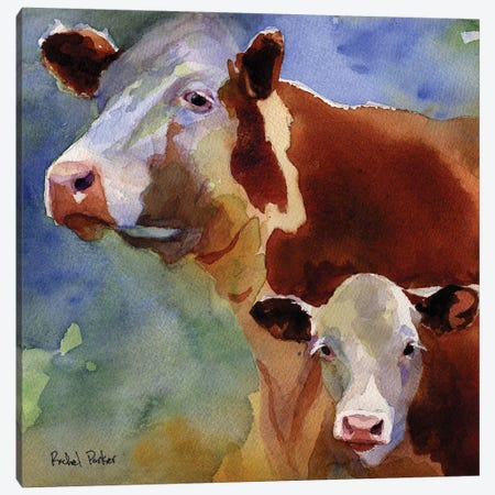Mama Cow 3-Piece Canvas #RPK57} by Rachel Parker Art Print