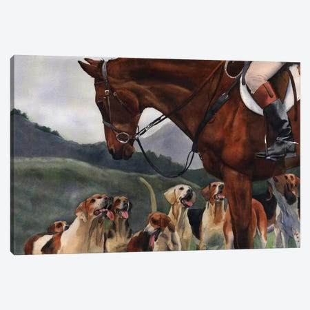 Hunt Horse Hounds Canvas Print #RPK74} by Rachel Parker Art Print