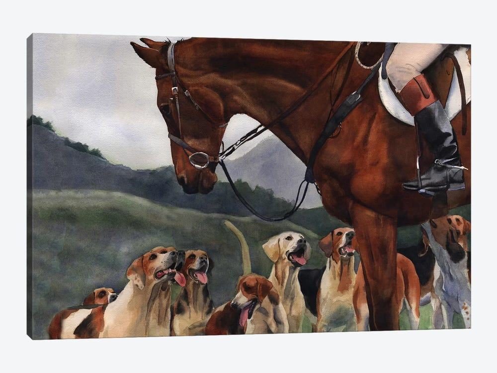 Hunt Horse Hounds by Rachel Parker 1-piece Canvas Print
