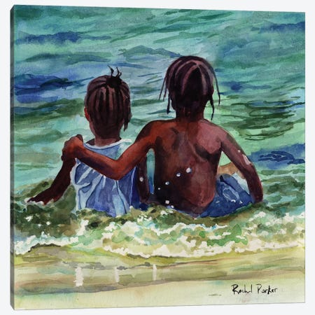 Caribbean Kids Canvas Print #RPK94} by Rachel Parker Canvas Print
