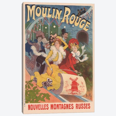 Moulin Rouge, Nouvelles Montagnes Russes Advertisement, 1889 Canvas Print #RPN1} by Rene Pean Canvas Art Print