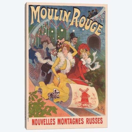 Moulin Rouge, Nouvelles Montagnes Russes Advertisement, 1889 Canvas Print #RPN1} by Rene Pean Canvas Art Print