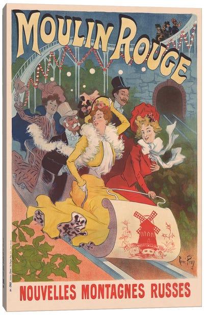 Moulin Rouge, Nouvelles Montagnes Russes Advertisement, 1889 Canvas Art Print