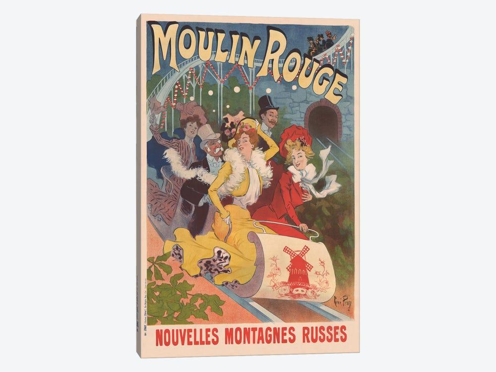 Moulin Rouge, Nouvelles Montagnes Russes Advertisement, 1889 by Rene Pean 1-piece Canvas Art Print