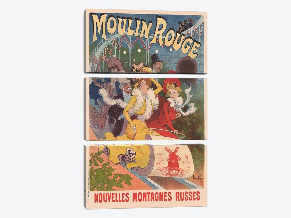 Moulin Rouge, Nouvelles Montagnes Russes Advertisement, 1889 by Rene Pean 3-piece Canvas Print