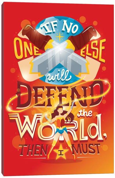 Wonder Woman Defends The World Canvas Art Print