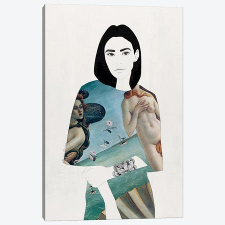 The Girl With Black Hair Canvas Print #RRU16} by Ramona Russu Canvas Wall Art