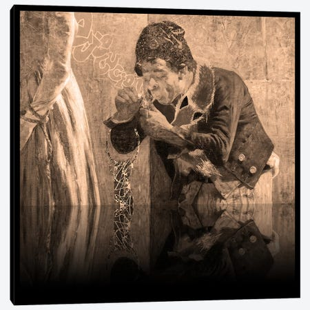 Charlotte Corday -Man with Fox Scarf Sepia Canvas Print #RRX10} by 5by5collective Canvas Wall Art