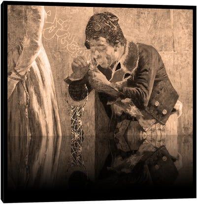 Charlotte Corday -Man with Fox Scarf Sepia Canvas Art Print