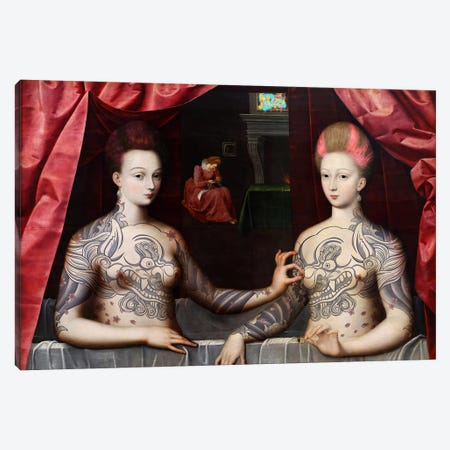 Portrait présumé de Gabrielle d'Estrées et de sa soeur la duchesse de Villars -Two Sisters with Fu Dog Tattoo  Canvas Print #RRX12} by 5by5collective Canvas Artwork
