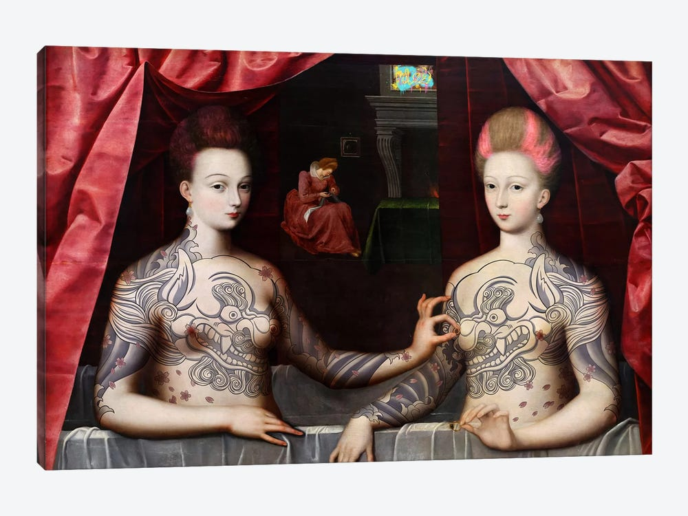 Portrait présumé de Gabrielle d'Estrées et de sa soeur la duchesse de Villars -Two Sisters with Fu Dog Tattoo by 5by5collective 1-piece Canvas Wall Art