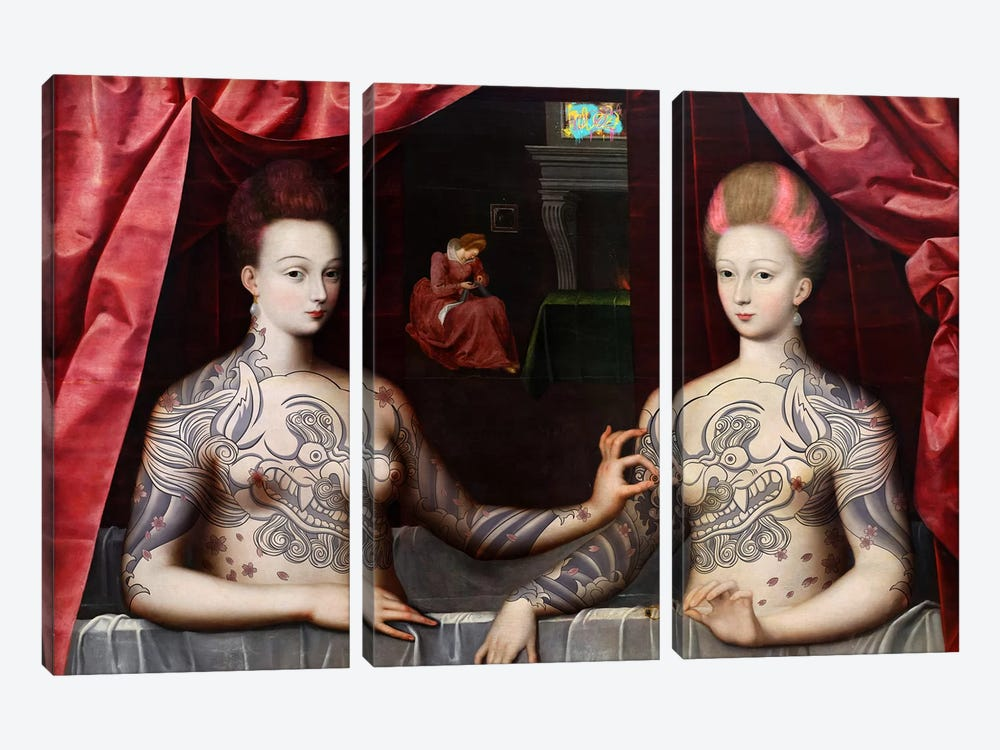 Portrait présumé de Gabrielle d'Estrées et de sa soeur la duchesse de Villars -Two Sisters with Fu Dog Tattoo by 5by5collective 3-piece Canvas Wall Art