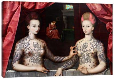 Portrait présumé de Gabrielle d'Estrées et de sa soeur la duchesse de Villars -Two Sisters with Fu Dog Tattoo  Canvas Art Print