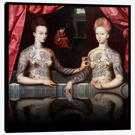 Portrait présumé de Gabrielle d'Estrées et de sa soeur la duchesse de Villars -Two Sisters with Fu Dog Tattoo Pink and Blue Canvas Print #RRX13} by 5by5collective Canvas Art