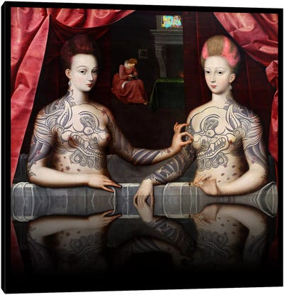 Portrait présumé de Gabrielle d'Estrées et de sa soeur la duchesse de Villars -Two Sisters with Fu Dog Tattoo Pink and Blue Canvas Art Print