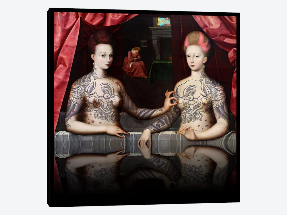 Portrait présumé de Gabrielle d'Estrées et de sa soeur la duchesse de Villars -Two Sisters with Fu Dog Tattoo Pink and Blue by 5by5collective 1-piece Canvas Print