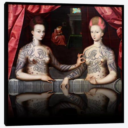 Portrait présumé de Gabrielle d'Estrées et de sa soeur la duchesse de Villars -Two Sisters with Fu Dog Tattoo Pink and Blue Canvas Print #RRX13} by 5by5collective Canvas Art