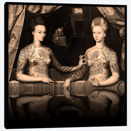 Portrait présumé de Gabrielle d'Estrées et de sa soeur la duchesse de Villars -Two Sisters with Fu Dog Tattoo Sepia Canvas Print #RRX14} by 5by5collective Art Print