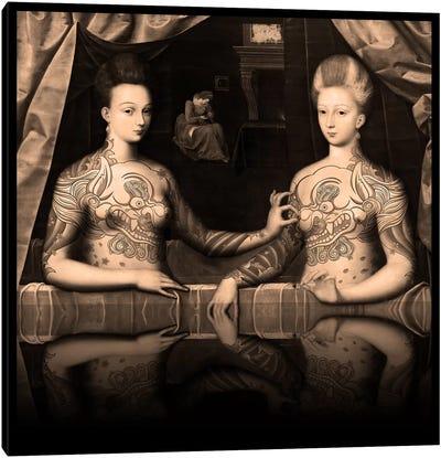 Portrait présumé de Gabrielle d'Estrées et de sa soeur la duchesse de Villars -Two Sisters with Fu Dog Tattoo Sepia Canvas Print #RRX14