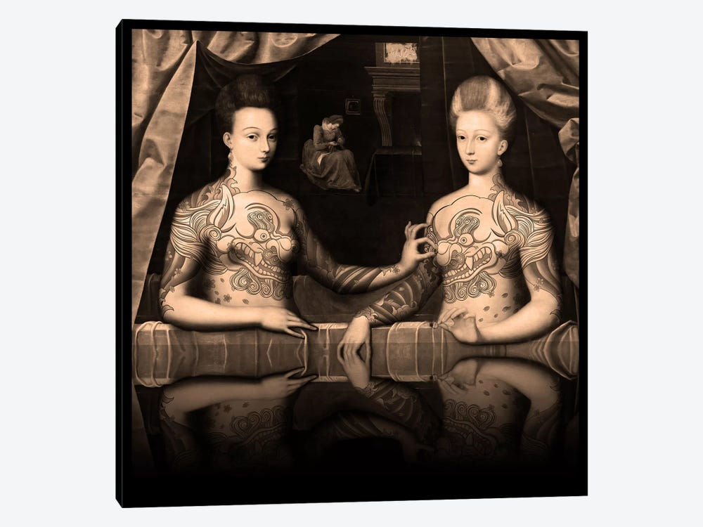 Portrait présumé de Gabrielle d'Estrées et de sa soeur la duchesse de Villars -Two Sisters with Fu Dog Tattoo Sepia by 5by5collective 1-piece Canvas Artwork