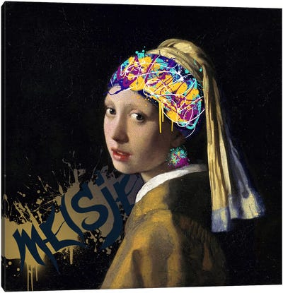 Girl with a Pearl Earring -Girl with the Graffitied Earring Canvas Print #RRX17