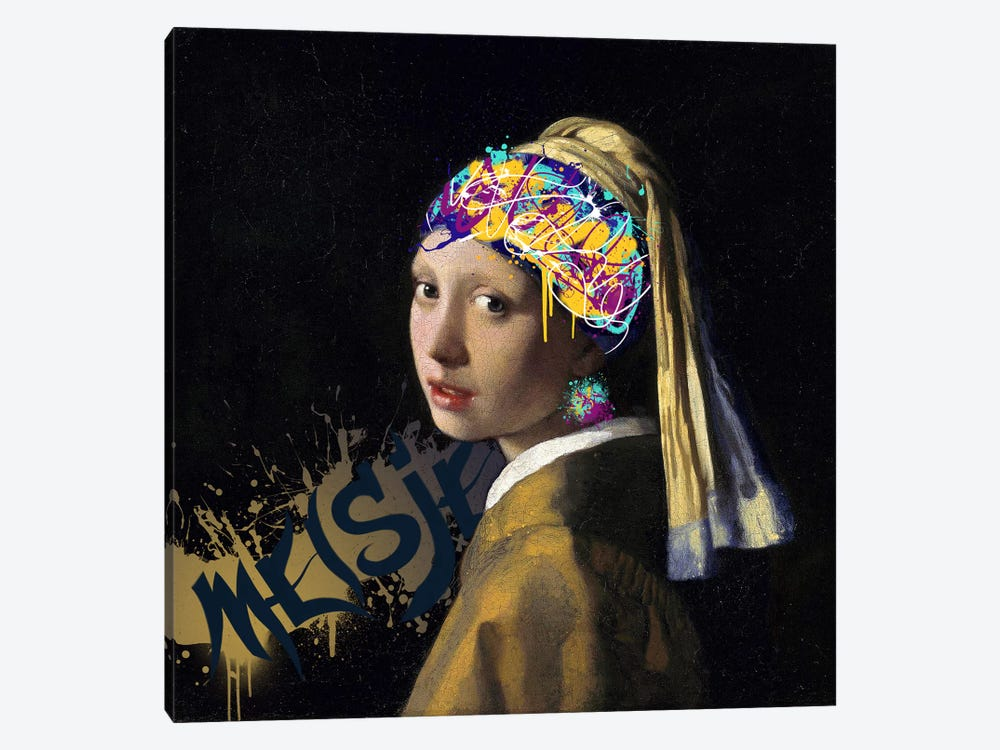 Girl with a Pearl Earring -Girl with the Graffitied Earring 1-piece Art Print