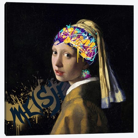 Girl with a Pearl Earring -Girl with the Graffitied Earring Canvas Print #RRX17} by 5by5collective Canvas Art Print
