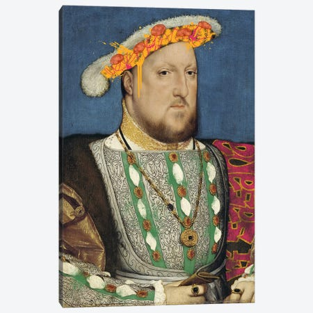 Portrait of Henry VII of England -King of England and his Pizza Hat Canvas Print #RRX18} by 5by5collective Canvas Wall Art