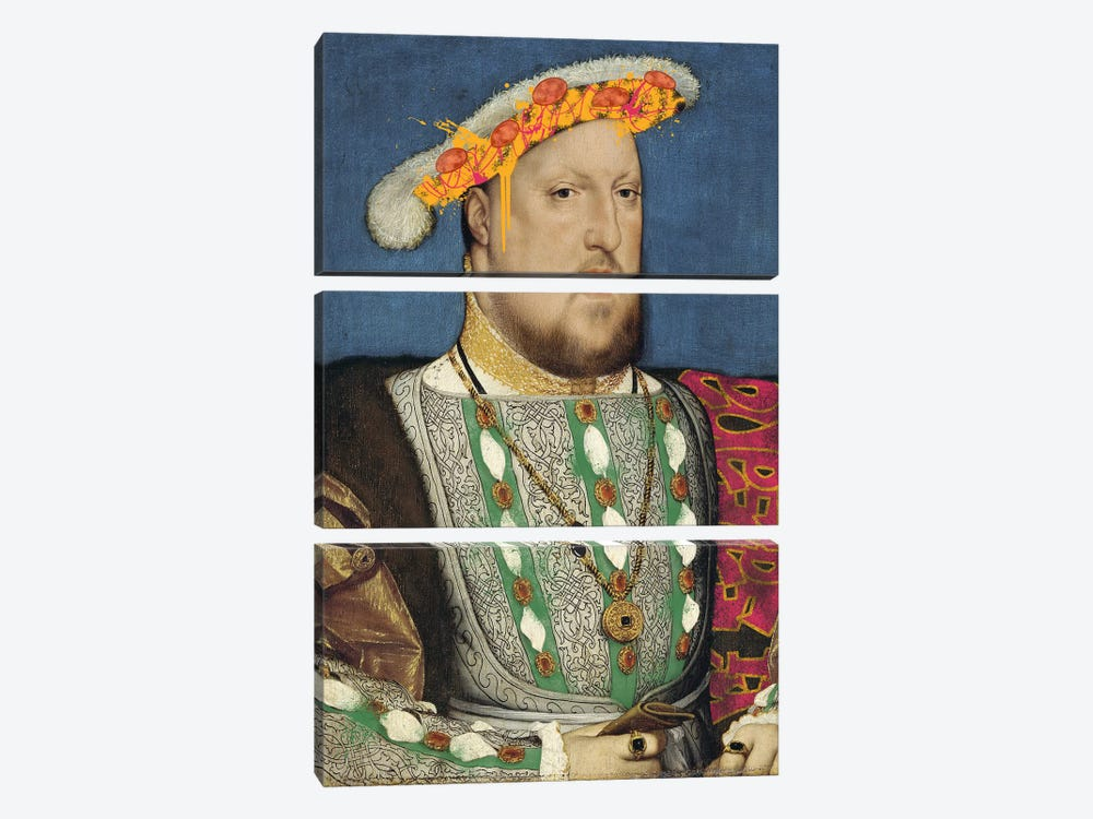 Portrait of Henry VII of England -King of England and his Pizza Hat by 5by5collective 3-piece Canvas Wall Art