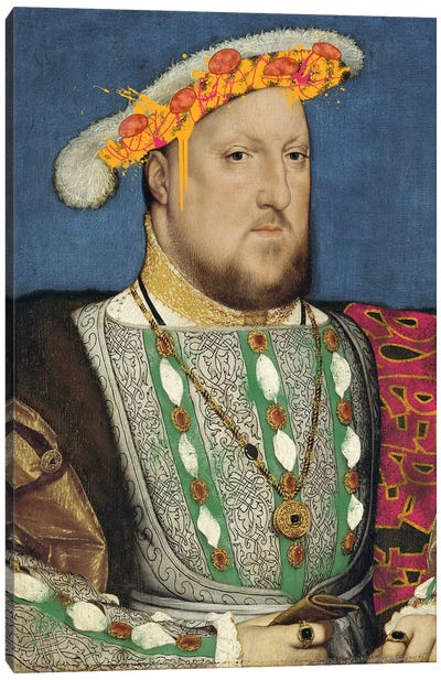 Portrait of Henry VII of England -King of England and his Pizza Hat Canvas Art Print