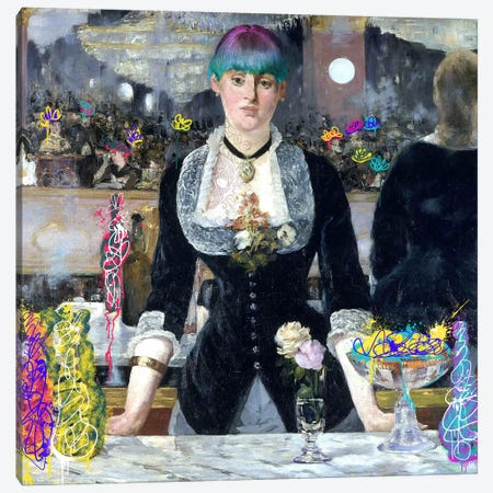 A Bar at the Folies-Bergère -Barmaid with a Skeleton Tattoo Canvas Print #RRX1} by 5by5collective Canvas Wall Art