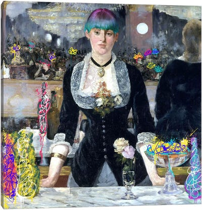 A Bar at the Folies-Bergère -Barmaid with a Skeleton Tattoo Canvas Art Print