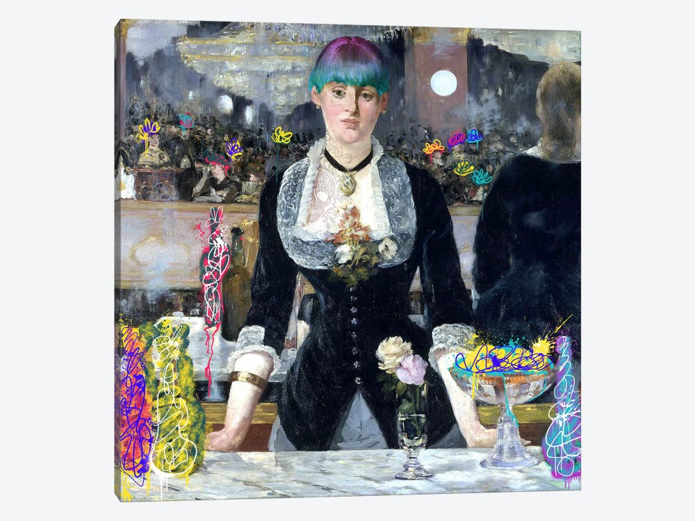 A Bar at the Folies-Bergère -Barmaid with a Skeleton Tattoo by 5by5collective 1-piece Canvas Art
