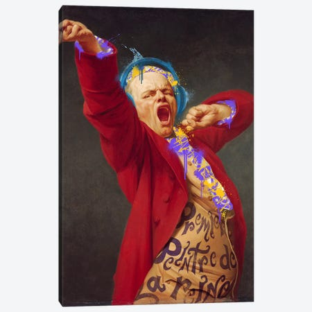 Self-Portrait, Yawning -The Yawning man with Headphones 3-Piece Canvas #RRX20} by 5by5collective Canvas Print