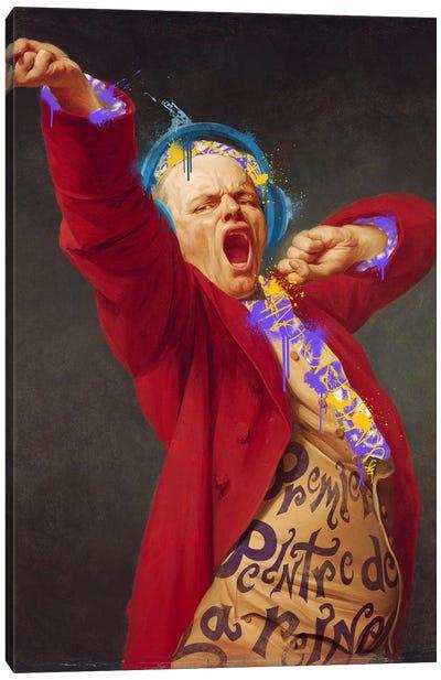 Self-Portrait, Yawning -The Yawning man with Headphones Canvas Art Print