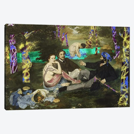 The Luncheon on the Grass -Picnic with the Neighbors  3-Piece Canvas #RRX22} by 5by5collective Canvas Art Print