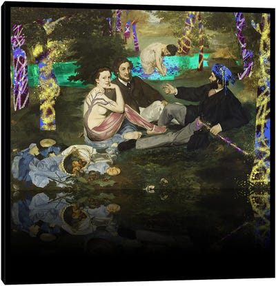 The Luncheon on the Grass -Picnic with the Neighbors Yellow, Blue, and Purple Canvas Art Print