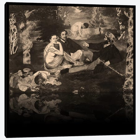 The Luncheon on the Grass -Picnic with the Neighbors Sepia 3-Piece Canvas #RRX24} by 5by5collective Canvas Art