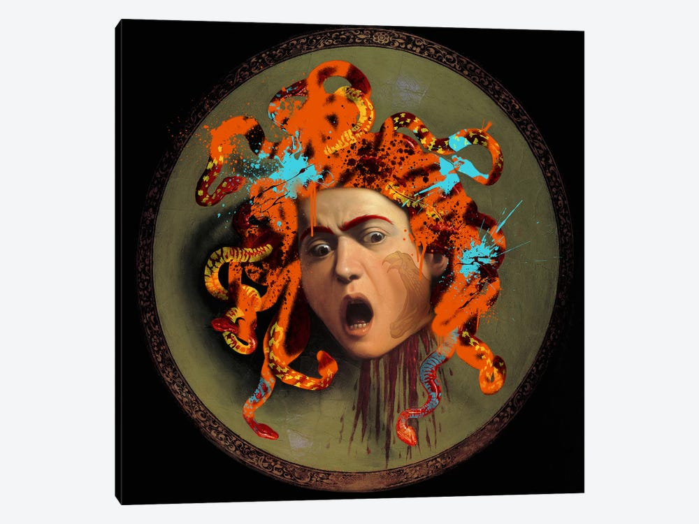 Medusa -The Lady with pet Snakes on her Head by 5by5collective 1-piece Canvas Wall Art